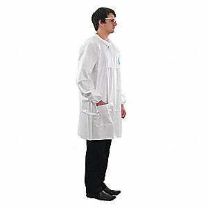 Isolation Gown, 4XL, Wt, Hook-and-Loop, PK50