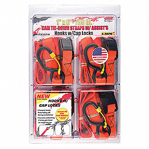 "Tie Down Strap, 6 ft.L x 1""W, 250 lb. Load Limit, Adjustment: Cam Buckle"