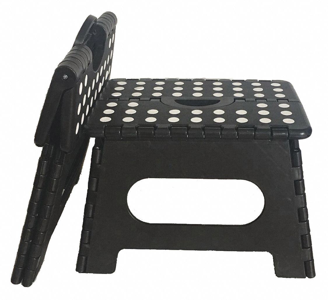 Folding Step, Plastic, 700 lb. Ld Cap.