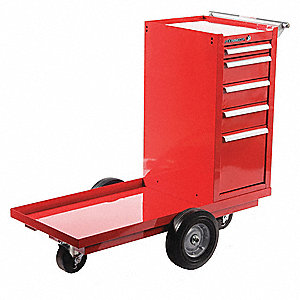 "Red Heavy Duty Tool Cart, 36-5/8"" H X 43-1/8"" W X 20-1/4"" D, Number of Drawers: 5"