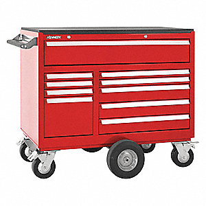 "Red Heavy Duty Rolling Cabinet, 37-5/8"" H X 43-1/8"" W X 20"" D, Number of Drawers: 10"