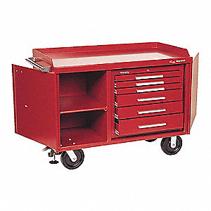 "Red Heavy Duty Tool Cart, 39-1/2"" H X 43-1/8"" W X 26"" D, Number of Drawers: 6"