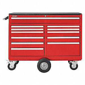 "Red Heavy Duty Rolling Cabinet, 43-1/8"" H X 57-1/4"" W X 20"" D, Number of Drawers: 12"