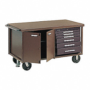 "Brown Heavy Duty Tool Cart, 35-5/8"" H X 60-5/8"" W X 32"" D, Number of Drawers: 6"