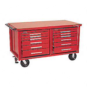 "Red Heavy Duty Tool Cart, 35-5/8"" H X 60-5/8"" W X 32"" D, Number of Drawers: 12"