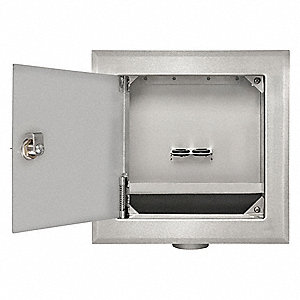 "8.63"" x 11.25"" 316 Stainless Steel One Hole, Locking Door Outlet Box with 1/2"" MIP Inlet Connection"