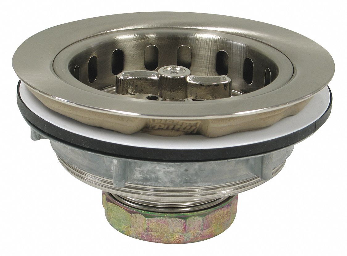 Zinc Die Cast Round Sink Strainers with Pre-Installed Putty, 1 1/2 in Pipe Dia., 4 1/2 in Length - D