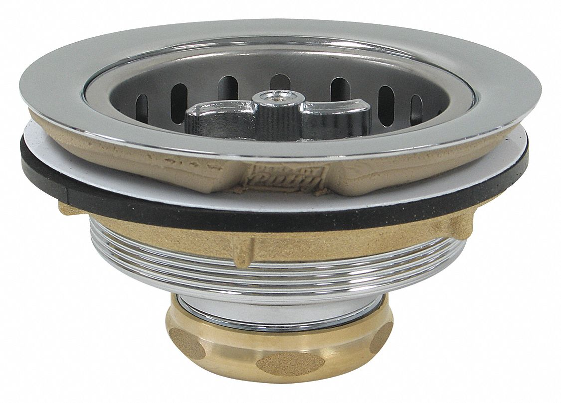 Brass Round Sink Strainers with Pre-Installed Putty, 1 1/2 in Pipe Dia., 5 in Length - Drains