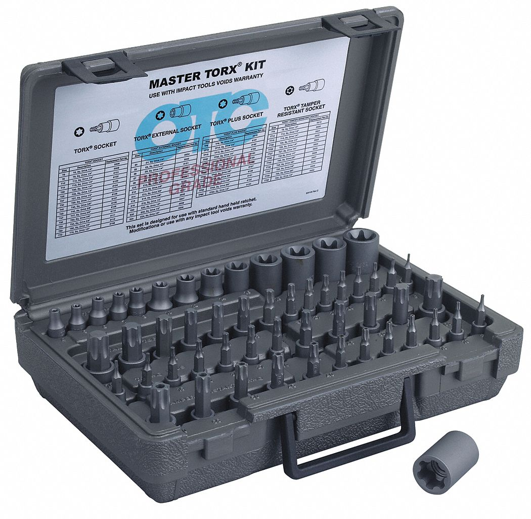 Impact Socket Set,  Alloy Steel,  Black Oxide,  1/4 in, 3/8 in, 1/2 in,  Impact Rated Yes