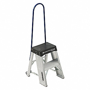 "Aluminum Rolling Step, 27"" Overall Height, 375 lb. Load Capacity, Number of Steps: 2"