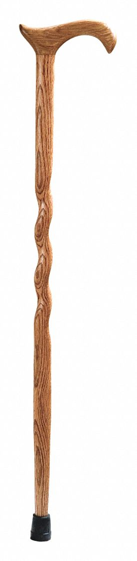 Cane,  Derby-Top Handle Type,  Single Base Type,  34 in Height,  250 lb Weight Capacity,  Oak Tan