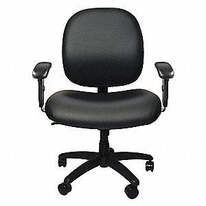 Black Vinyl Desk Chair 22  Back Height Arm Style Adjustable  sc 1 st  Grainger & CARRINGTON Black Vinyl Desk Chair 22
