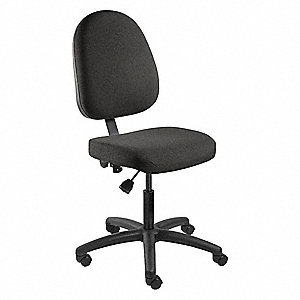 "Black Vinyl Executive Chair 19"" Back Height, Arm Style: No Arm"