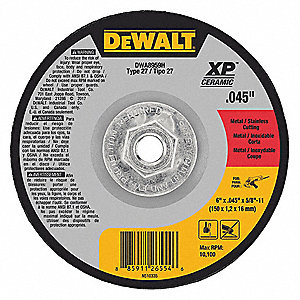 "6"" Type 27 Ceramic Abrasive Cut-Off Wheel, 5/8""-11 Arbor, 0.045""-Thick, 10,100 Max. RPM"