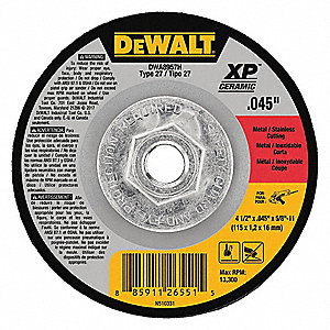 "4-1/2"" Type 27 Ceramic Abrasive Cut-Off Wheel, 5/8""-11 Arbor, 0.045""-Thick, 13,300 Max. RPM"