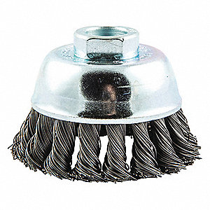 "3"" Knotted Wire Cup Brush, Arbor Hole Mounting, 0.020"" Wire Dia. 7/8"" Bristle Trim Length"