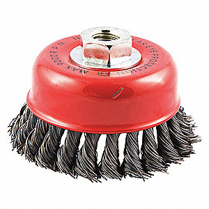 "4"" Knotted Wire Cup Brush, Arbor Hole Mounting, 0.020"" Wire Dia. 1-1/8"" Bristle Trim Length"