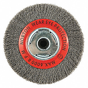 6 in Crimped Wire Wheel Brush, Arbor Hole Mounting, 0.014 in Wire Dia., 1 1/8 in Bristle Trim Length