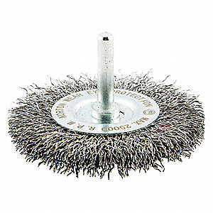 "3"" Crimped Wire Wheel Brush, Shank Mounting, 0.014"" Wire Dia., 3/4"" Bristle Trim Length, 1 EA"