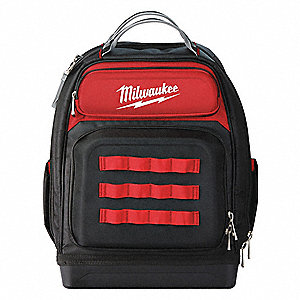"48-Pocket 1680D Ballistic Fabric General Purpose Tool Backpack, 20""H x 15""W x 11""D, Red"