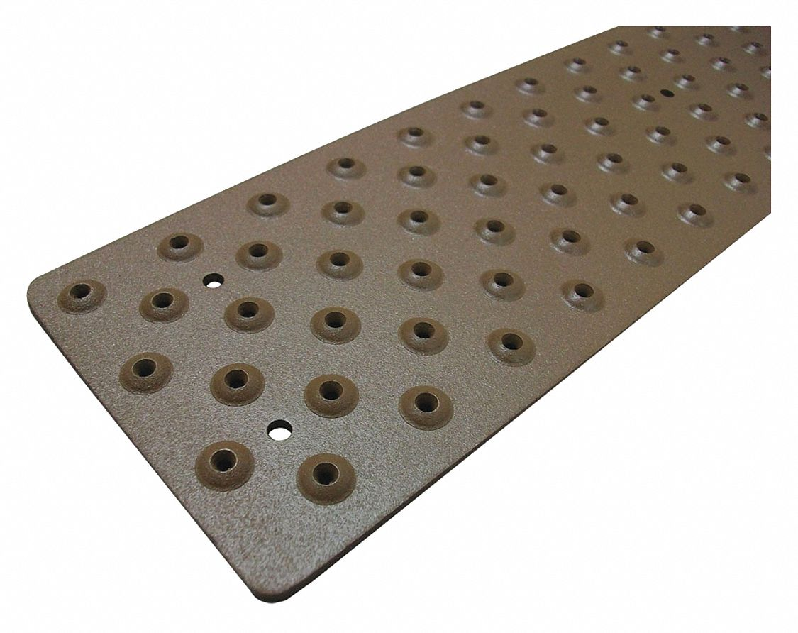 Brown, Aluminum Stair Tread Cover, Installation Method: Fasteners, Round Edge Type, 48 in Width