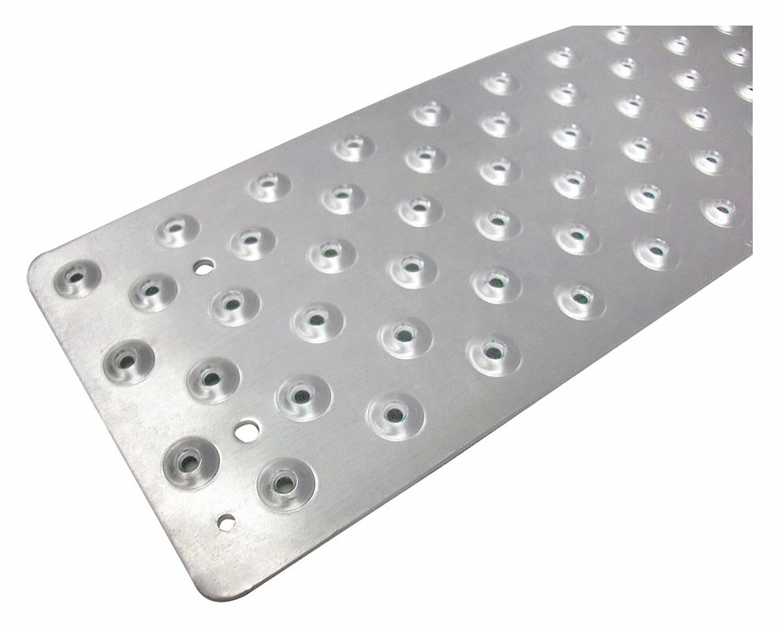 Silver, Aluminum Stair Tread Cover, Installation Method: Fasteners, Round Edge Type, 36 in Width