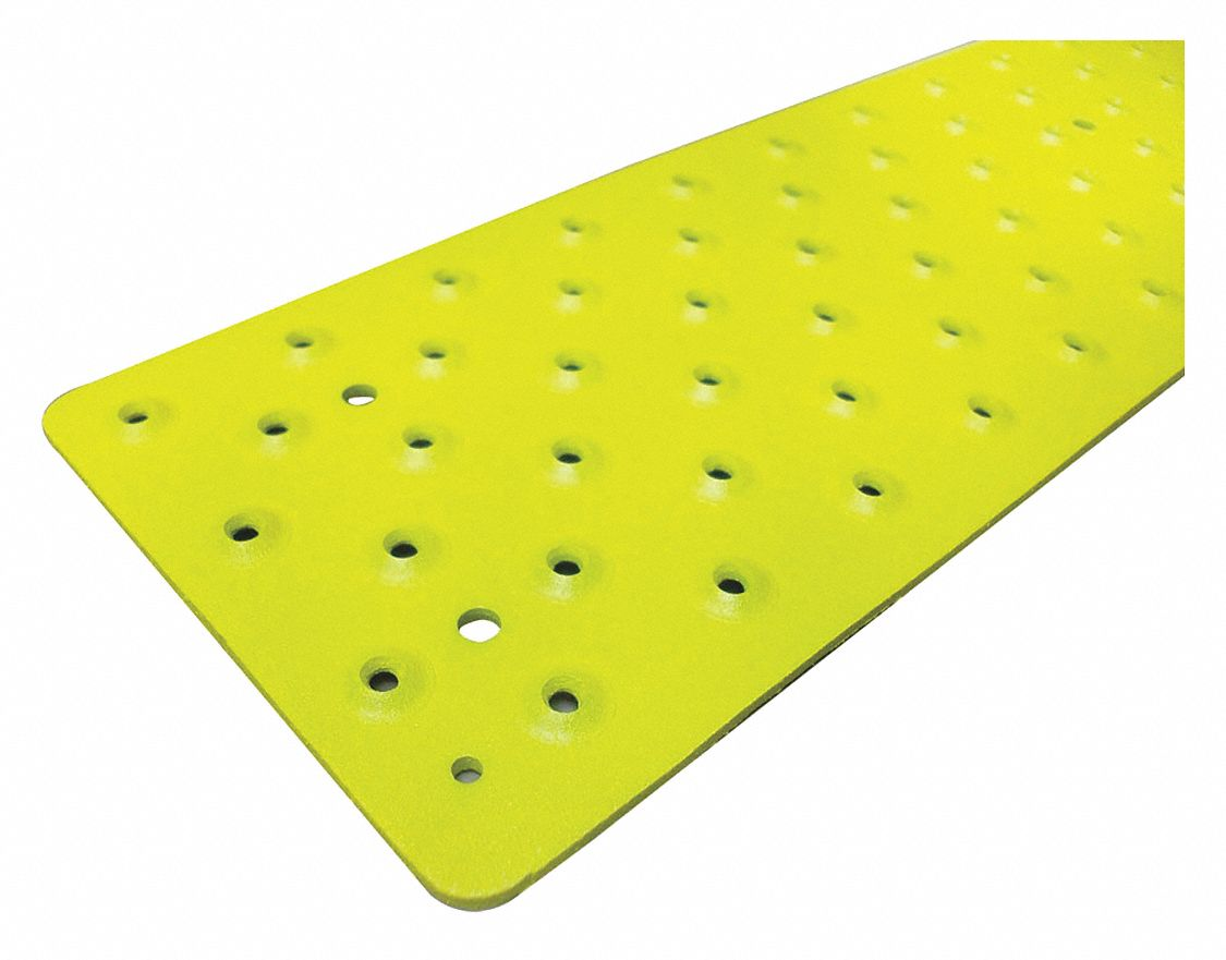 Yellow, Aluminum Stair Tread Cover, Installation Method: Fasteners, Round Edge Type, 36 in Width