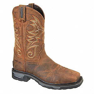 Western Boot,  11-1/2,  D,  Men's,  Brown,  Composite Toe Type,  1 PR