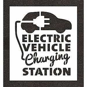 "Pavement Stencil, Electric Car Logo, 24"", Polyethylene, 1 EA"
