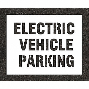 "Pavement Stencil, Electric Car Logo, 22"", Polyethylene, 1 EA"