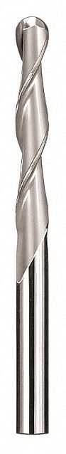 Ball End Mill,  1/8 in,  Carbide,  Bright (Uncoated),  Non-Coolant Through