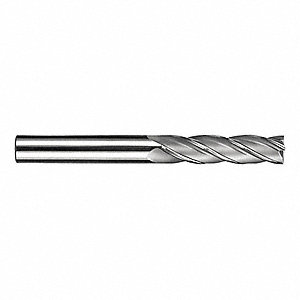 "Square End Mill, 15/64"" Milling Diameter, Number of Flutes: 4, 1/2"" Length of Cut, AlTiN, 14S"