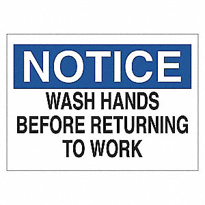 SIGN NOTICE WASH HAND 10X14 SS