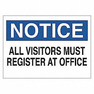 SIGN NOTICE VISITORS 7X10 PL