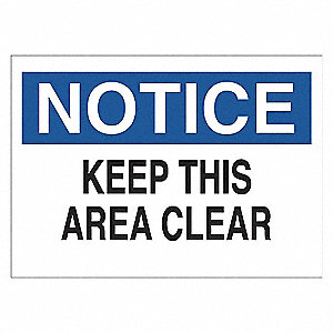SIGN NOTICE AREA CLEAR 7X10 SS