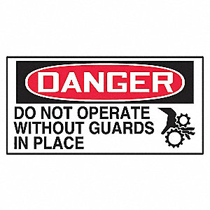 Danger Label,1-1/2in H,3in W,PK10