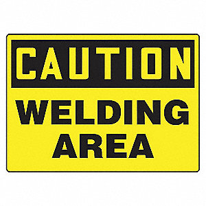 "Welding Hazard, Caution, Aluminum, 10"" x 14"", With Mounting Holes, Not Retroreflective"