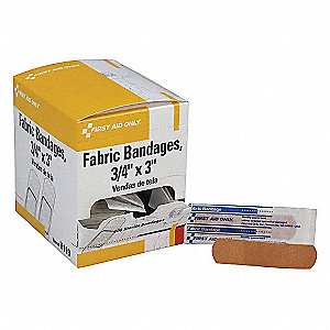 "Fabric Strip Bandages, 3"" x 3/4"", Beige"