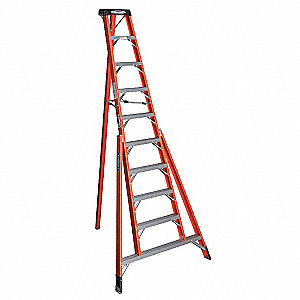 Tripod Stepladder,H 10 ft.,Spread 71 In