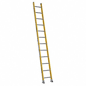 "Fiberglass Straight Ladder, 12 ft. Ladder Height, 19"" Overall Width, 375 lb. Load Capacity"