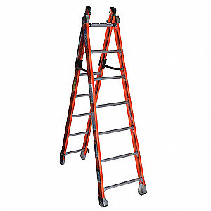 Fiberglass Combination Ladder, 12 ft. Extended Ladder Height, 375 lb. Load Capacity