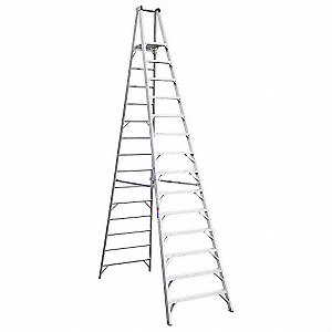 Platform Stepladder,14 ft,Aluminum,300lb