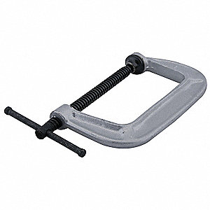 "Heavy Duty Cast Iron C-Clamp, 5"" Max. Opening, 3"" Throat Depth, Black"