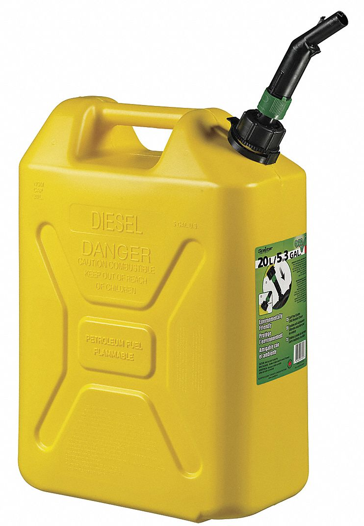 Diesel Fuel Can,  Plastic,  5 gal Capacity,  18 15/32 in Height,  13 7/64 in Length