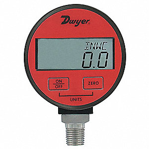 "-30 to 0 In. Hg Digital Vacuum Gauge, 2-1/2"" Dial, 1/4"" MNPT Connection, Plastic"