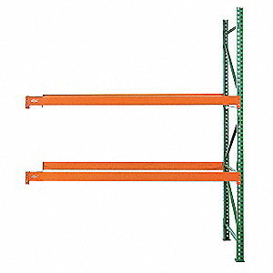 "96"" x 42"" x 144"" Steel Pallet Rack Add-On Unit with 19,380 lb. Load Capacity, Orange Beams/Green Upr"
