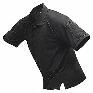 Mens Tactical Polo, Black, Shrt Sleeve, 2XL