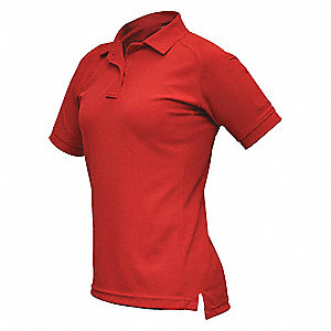 Womens Tactical Polo, Red, Short Sleeve, M