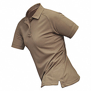 Womens Tactical Polo,Tan,Short Sleeve,M