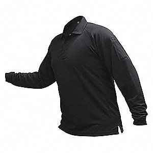 Mens Tactical Polo,Black,Long Sleeve,2XL